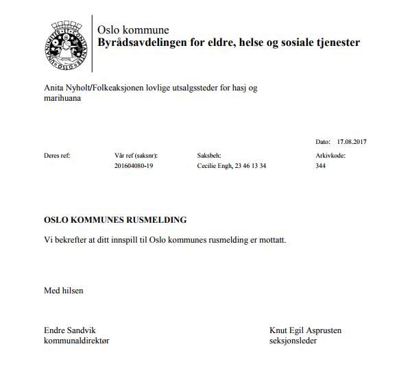 Bekreftelse på mottatt høringsinnspill Oslo kommunes rusmelding